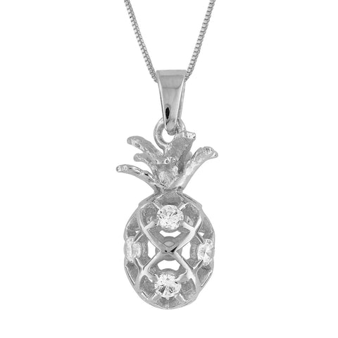 Rhodium Plated Sterling Silver Small Pineapple Pendant Necklace, 16+2