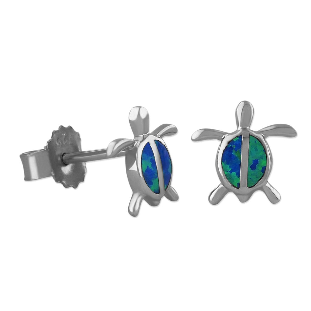 Sterling Silver Synthetic Blue Opal Turtle Stud Earrings Mini XS 9mm