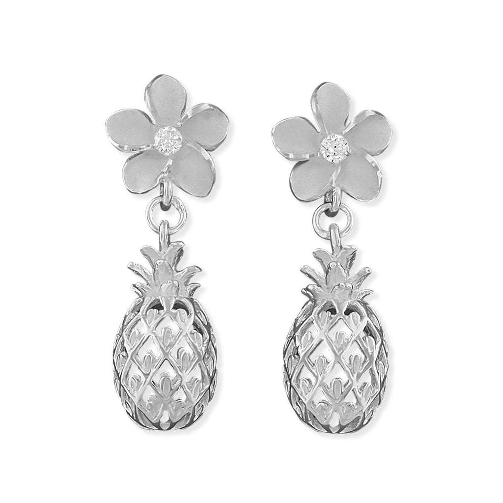 Sterling Silver Plumeria and Pineapple Dangle Earrings