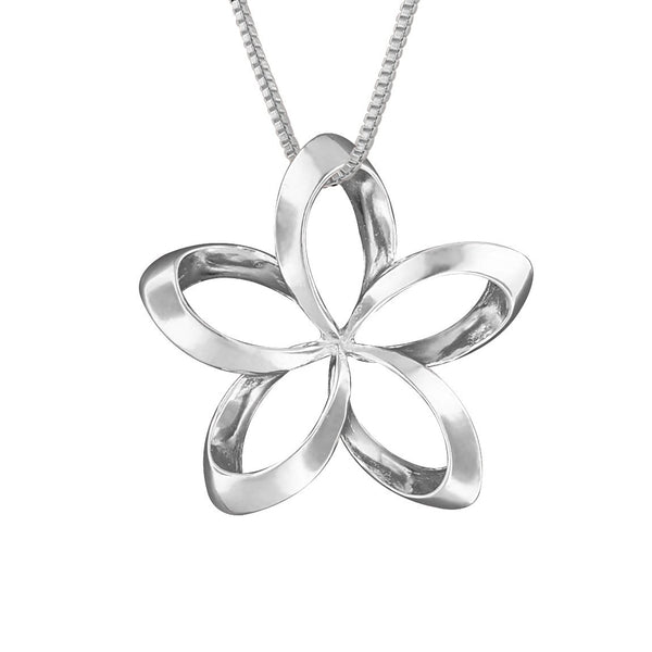 Sterling Silver 19mm Open Plumeria Pendant Necklace, 16+2