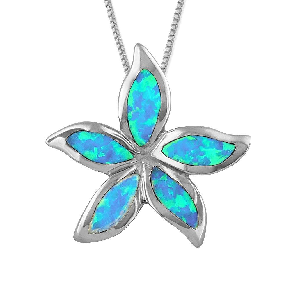 Sterling Silver Synthetic Blue Opal Starfish/Plumeria Pendant Necklace, 16+2
