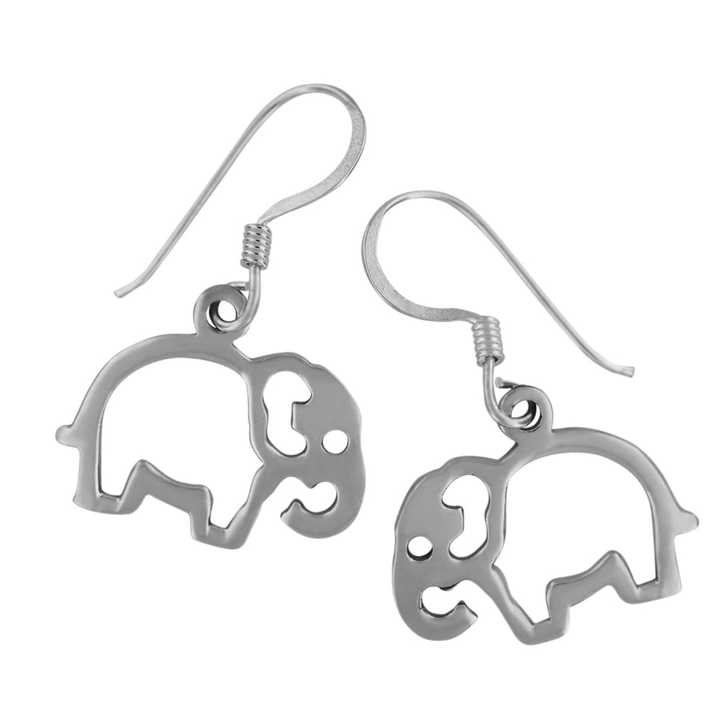 Sterling Silver Elephant Cut Out Dangle Earrings