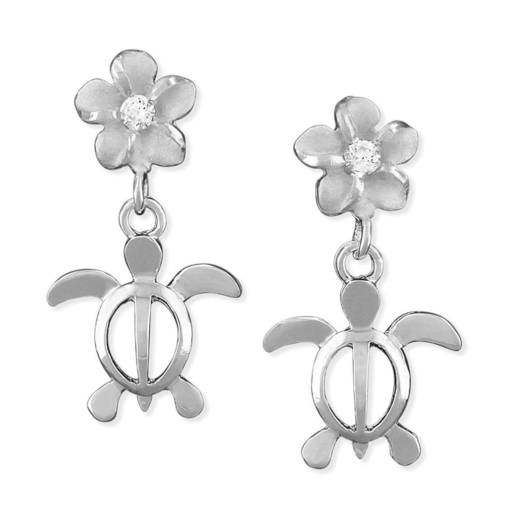Sterling Silver Small Turtle and Plumeria Dangle Earrings