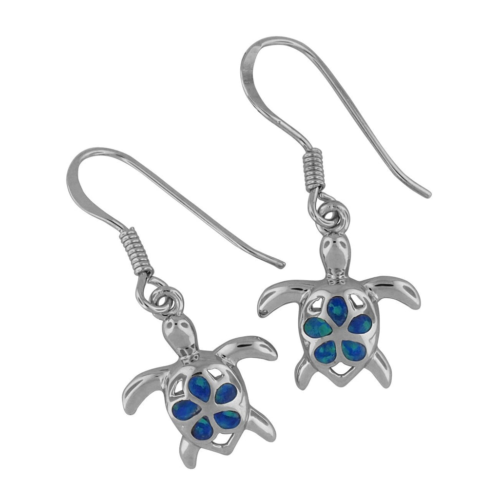 Sterling Silver Synthetic Opal Turtle Plumeria Dangle Earrings