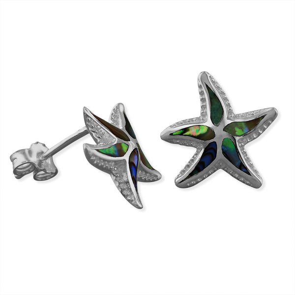 Sterling Silver Abalone Shell Starfish Stud Earrings