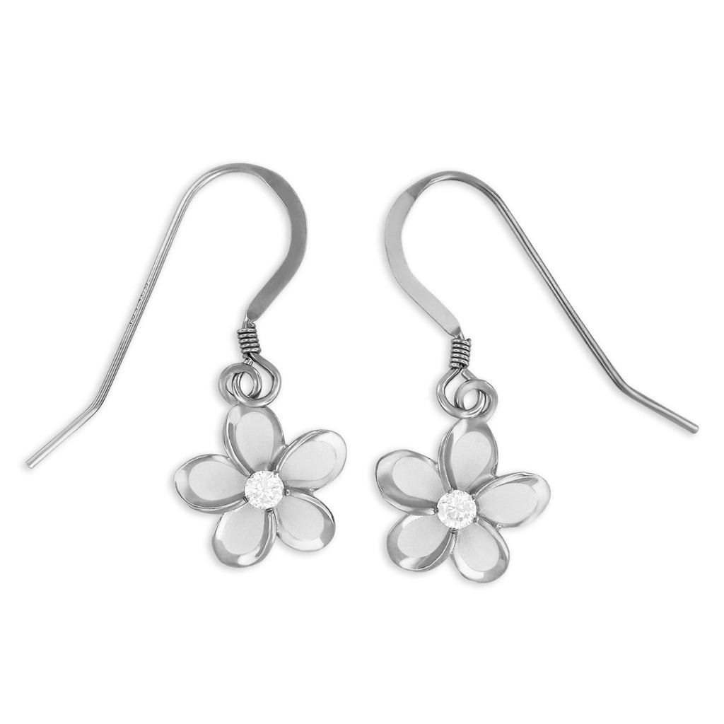 Sterling Silver 11mm Plumeria Dangle Earrings