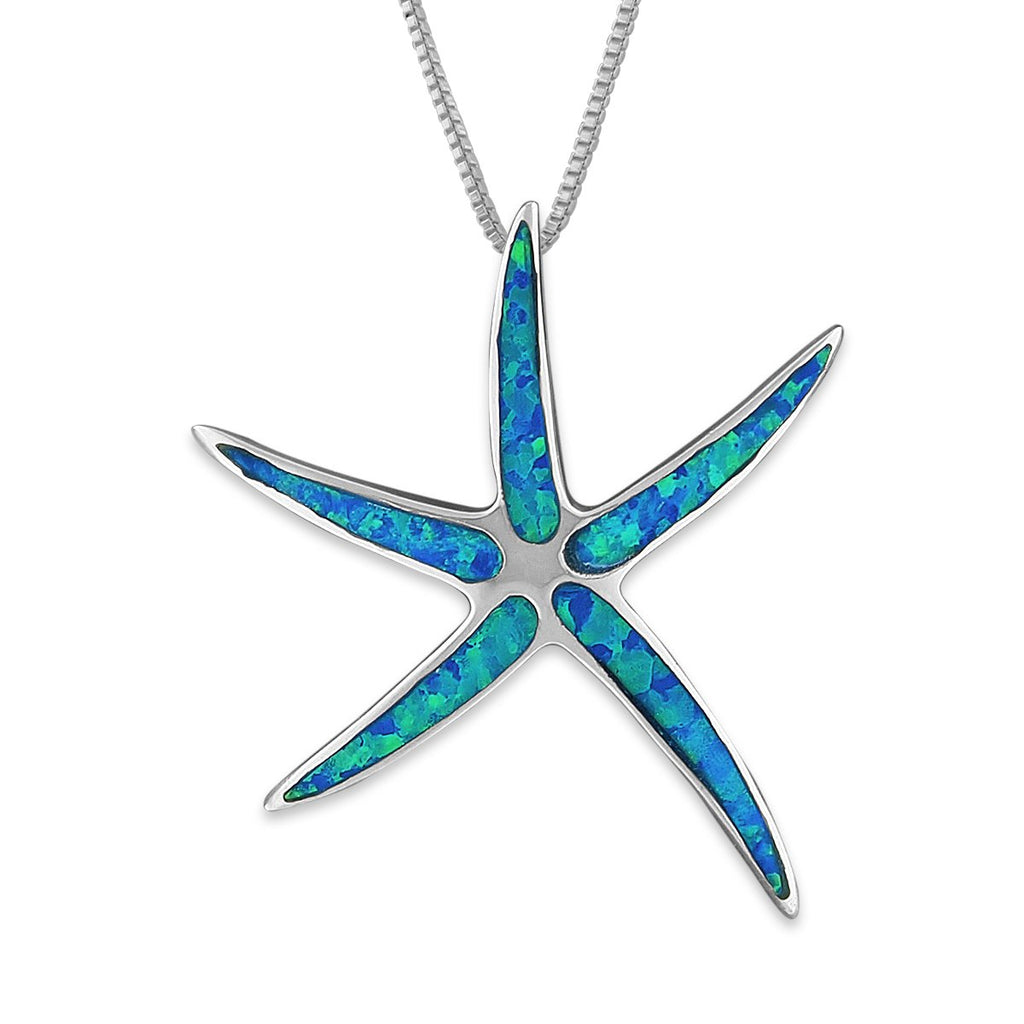 Sterling Silver Synthetic Blue Opal Starfish Pendant Necklace, 16+2
