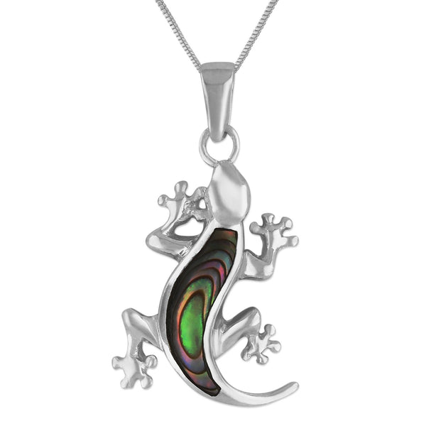 Sterling Silver Abalone Shell Gecko Pendant Necklace, 18+2