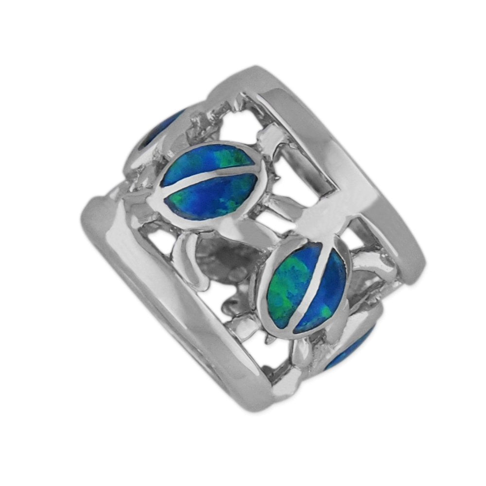 Sterling Silver Synthetic Opal Turtle Bead Charm/Pendant