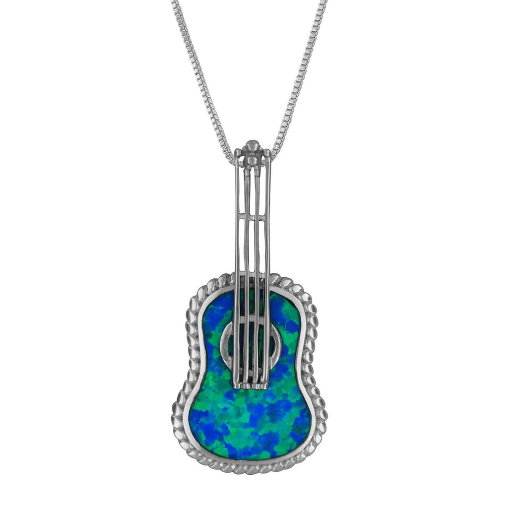 Sterling Silver Synthetic Blue Opal Ukulele Pendant Necklace, 16+2
