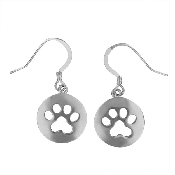 Sterling Silver Circle Dog Paw Print Dangle Earrings