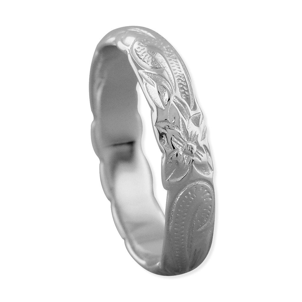 Sterling Silver Hawaiian Wedding Band Ring 4mm
