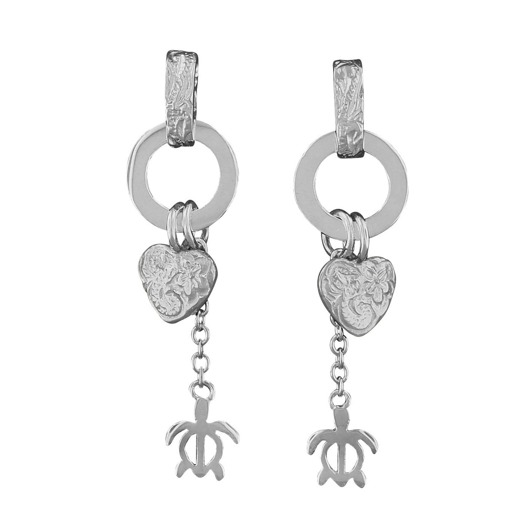 Sterling Silver Heart and Turtle Dangle Earrings