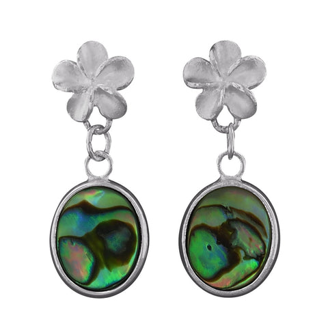 Sterling Silver Abalone Shell Plumeria Dangling Oval Earrings