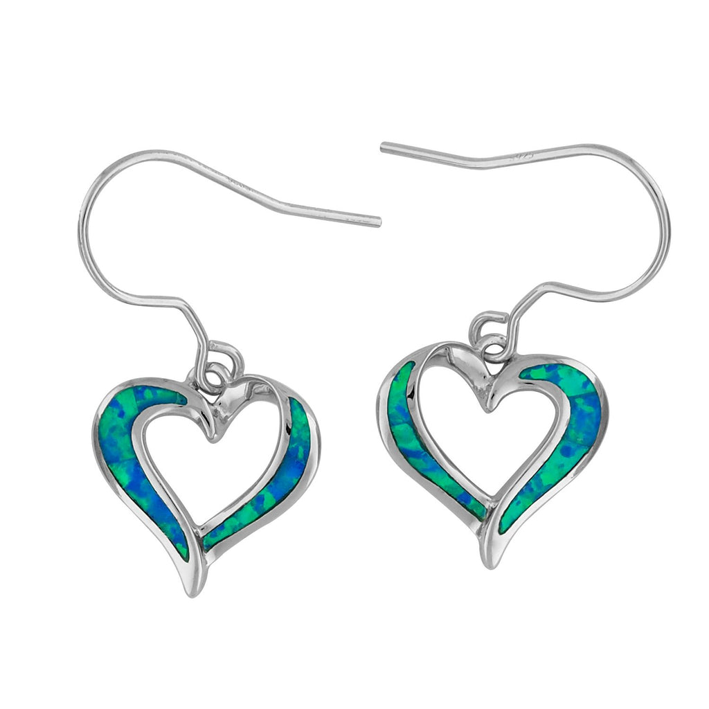 Sterling Silver Synthetic Blue Opal Open Heart Dangle Earrings