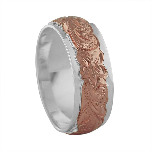 Sterling Silver 14kt Rose Gold Plated Raised Hawaiian Band Ring