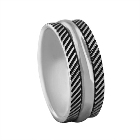 Sterling Silver 8mm Etched Wedding Band Ring