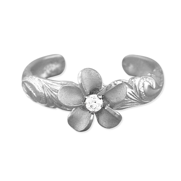 Sterling Silver Plumeria Toe Ring
