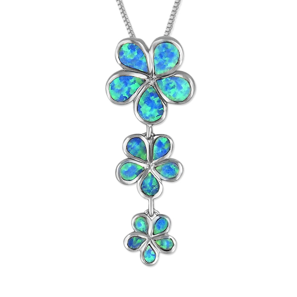 Sterling Silver Synthetic Blue Opal 3 Plumeria Pendant Necklace, 16+2