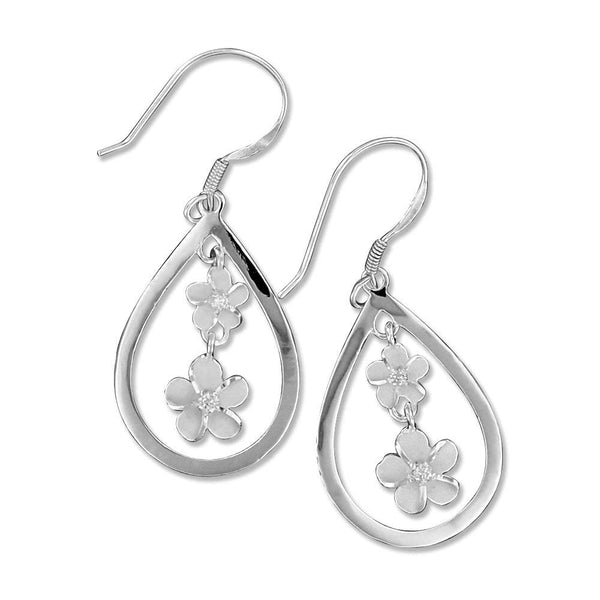 Sterling Silver Teardrop Dangling Plumeria Earrings