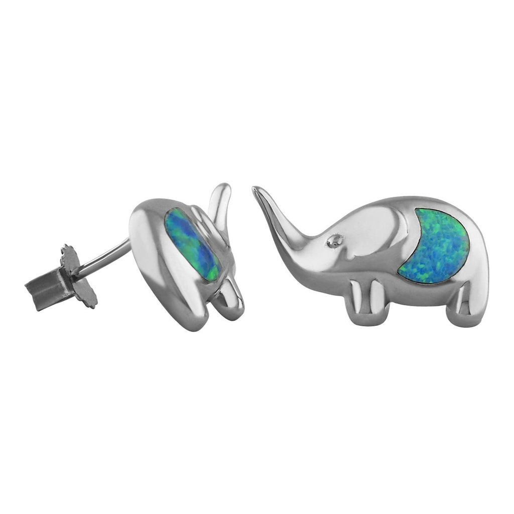 Sterling Silver Synthetic Blue Opal Elephant Stud Earrings