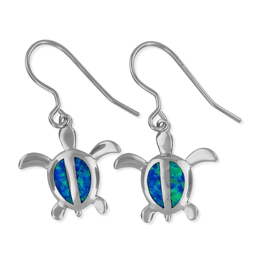 Sterling Silver Synthetic Blue Opal Turtle Dangle Earrings