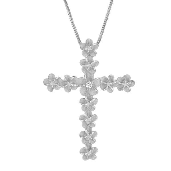 Sterling Silver Plumeria Cross Pendant Necklace, 16+2