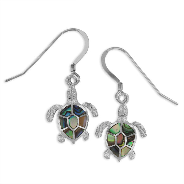 Sterling Silver Abalone Shell Turtle Dangle Earrings