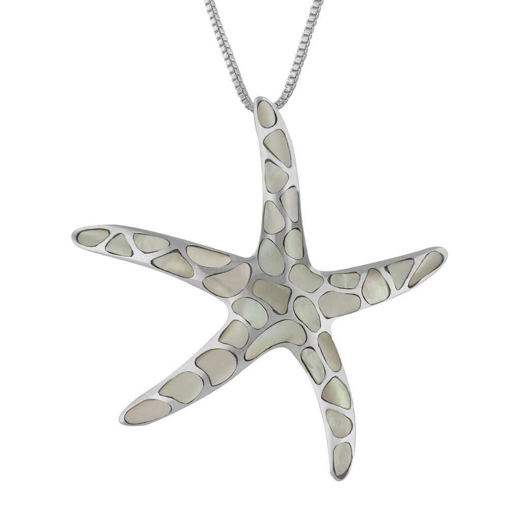 Sterling Silver Starfish Pendant Necklace, 16+2