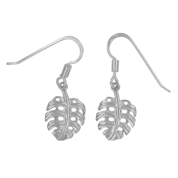 Sterling Silver Monstera Dangle Earrings