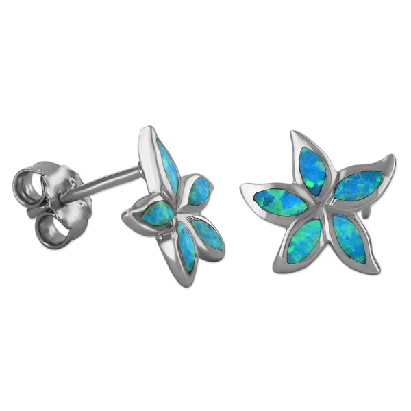 Sterling Silver Synthetic Blue Opal Plumeria Starfish Stud Earrings