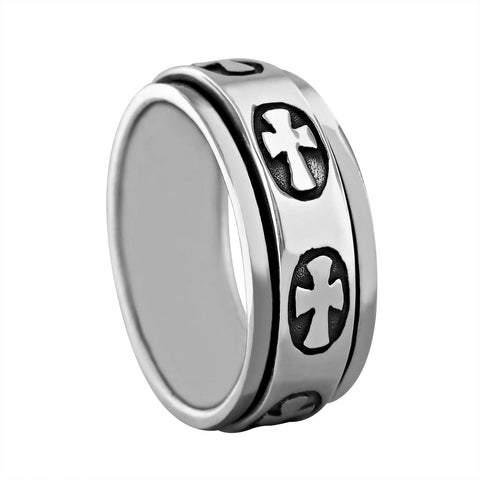 Sterling Silver Cross Spinner Ring