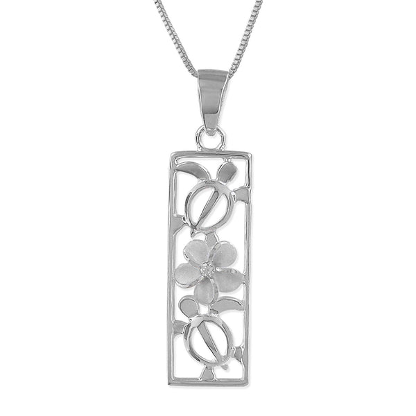 Sterling Silver Turtle and Plumeria Vertical Bar Pendant Necklace, 18