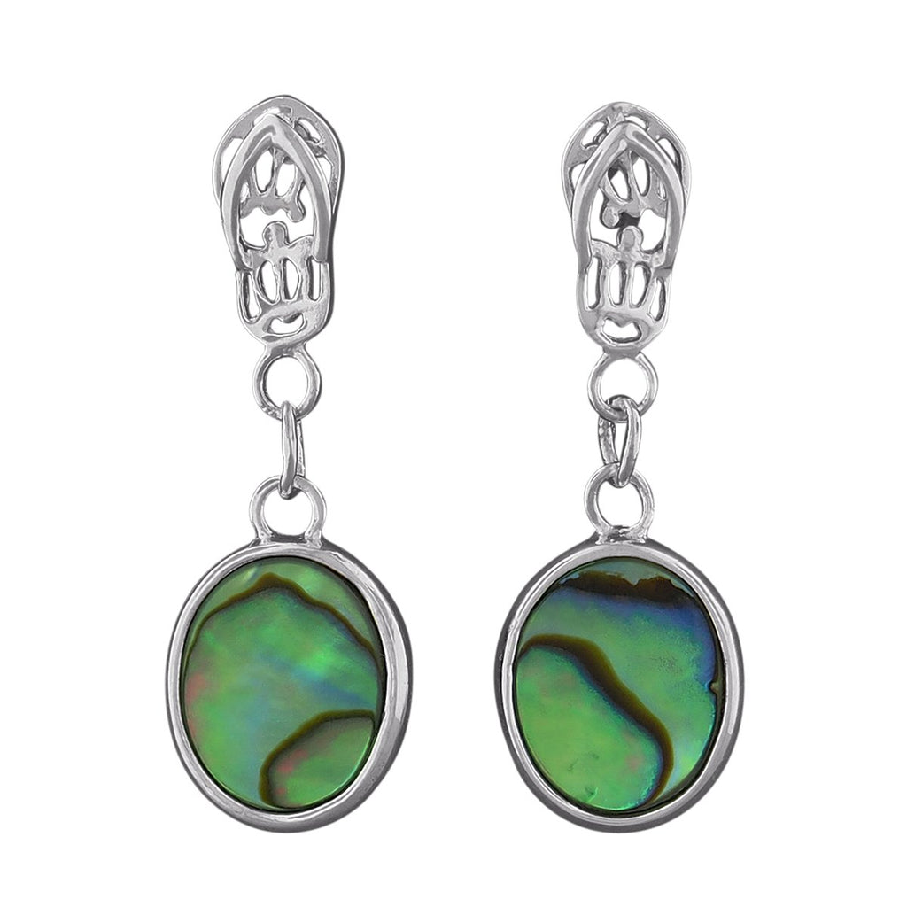 Sterling Silver Abalone Shell Flip Flop Dangling Oval Earrings