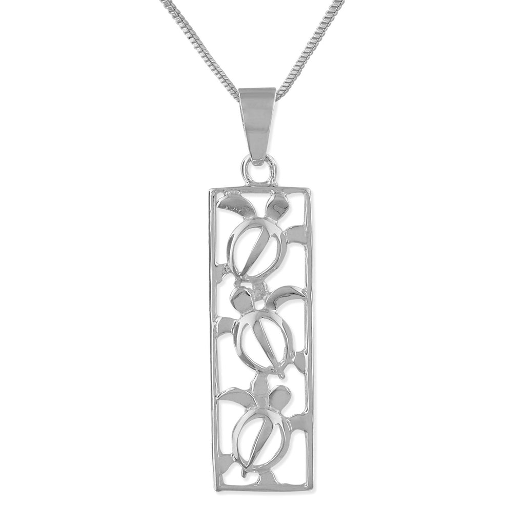 Sterling Silver Turtle Vertical Bar Pendant Necklace, 16+2
