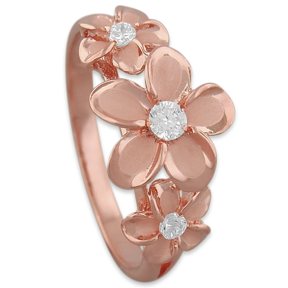 14kt Rose Gold Plated Sterling Silver Hawaiian Three Plumeria Ring Size 10