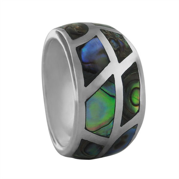 Sterling Silver Abalone Paua Shell Tapered Band Ring Size 10.5