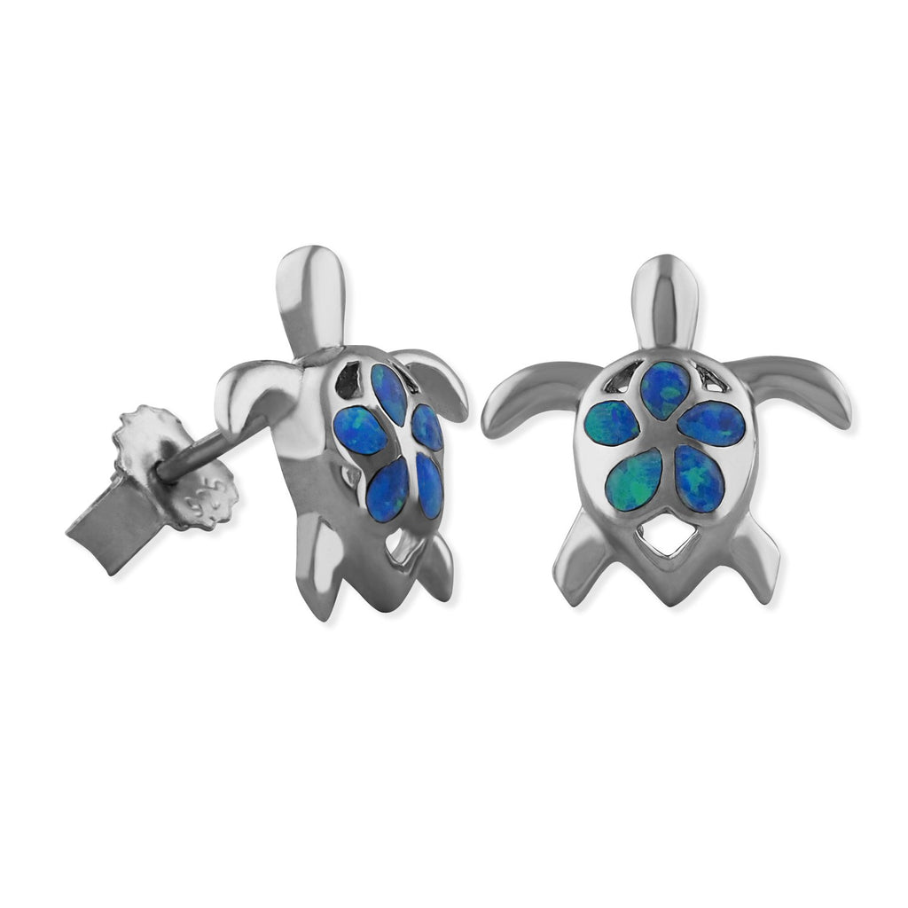 Sterling Silver Synthetic Blue Opal Turtle Plumeria Stud Earrings