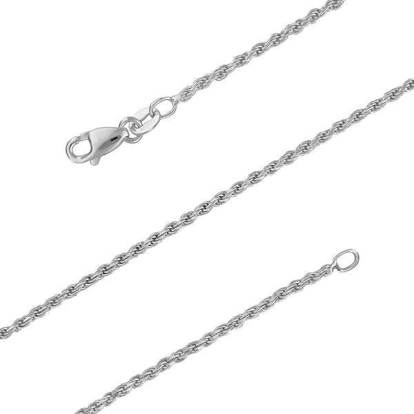 Sterling Silver 1.5mm Diamond-Cut Rope Chain Necklace Solid Italian Nickel-Free, 14-30 Inch