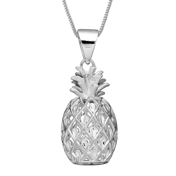 Sterling Silver Large Pineapple Pendant Necklace, 16+2