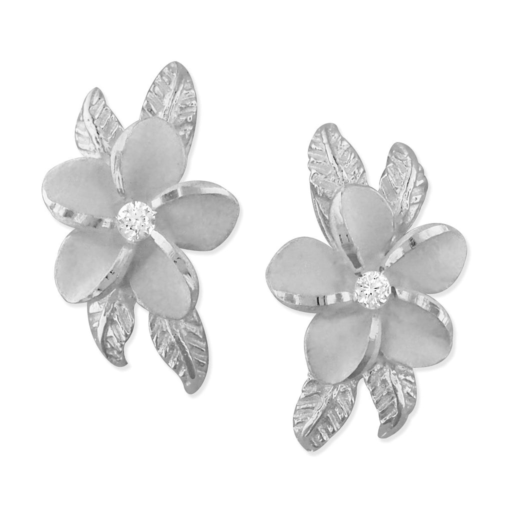 Sterling Silver Plumeria Maile Leaf Earrings