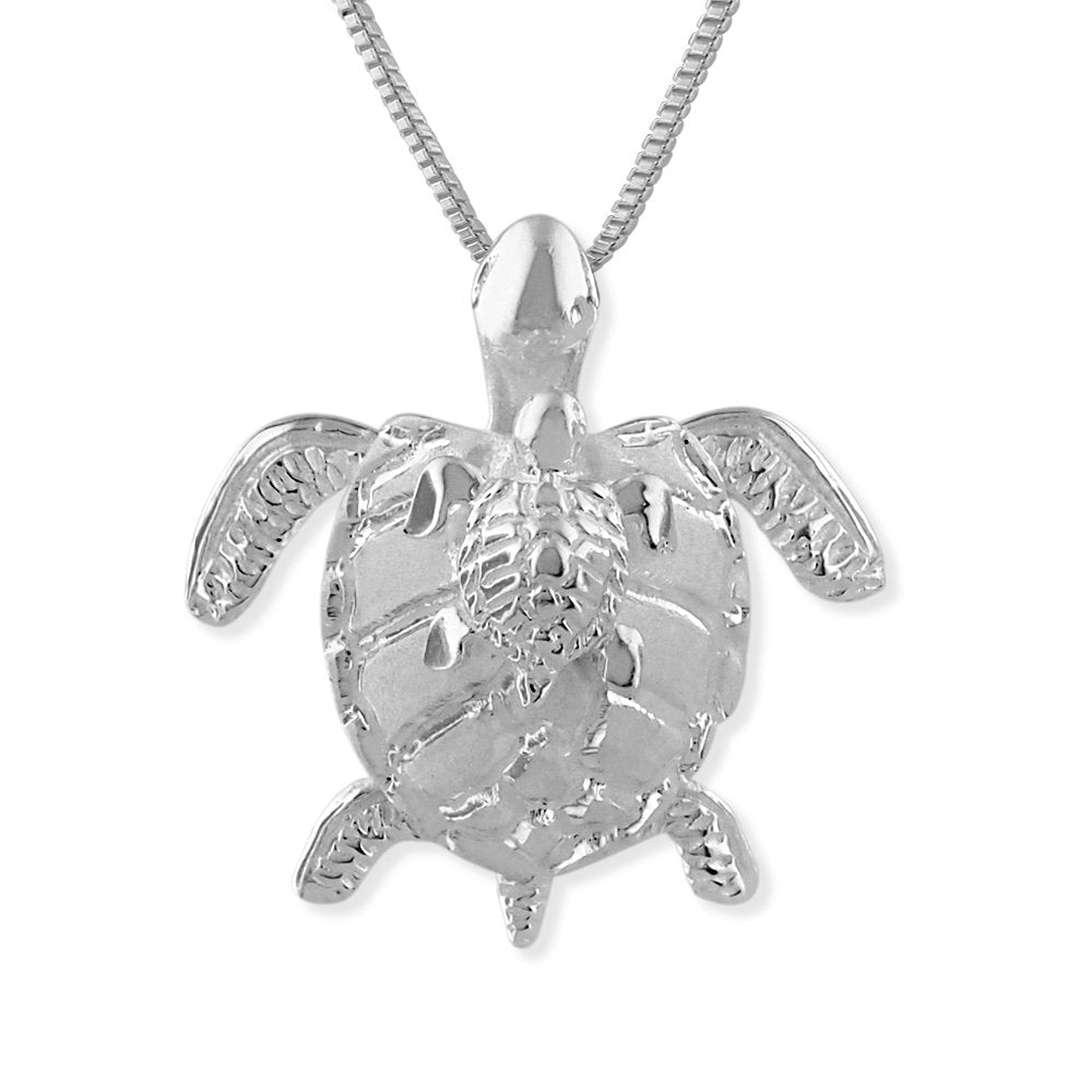 Sterling Silver Mother and Baby Turtle Pendant Necklace, 16+2