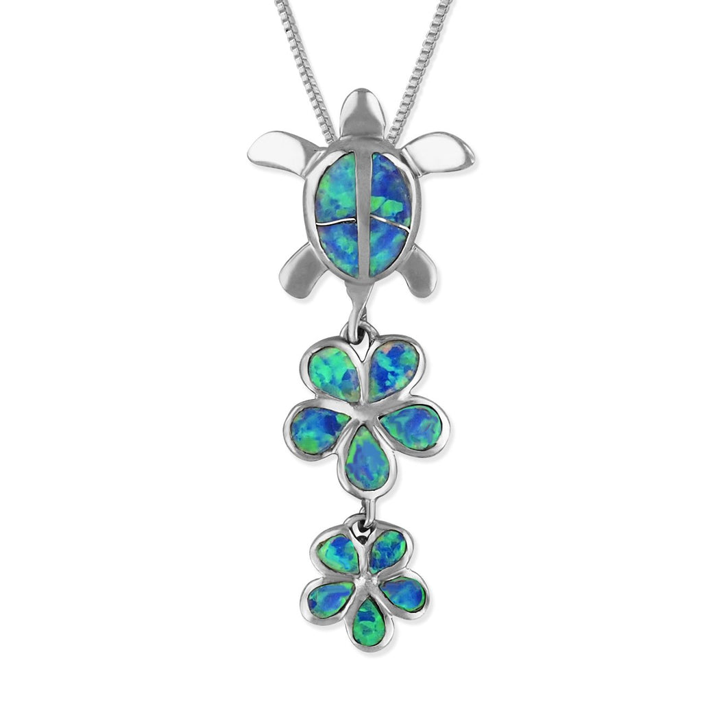 Sterling Silver Synthetic Blue Opal Turtle and Plumeria Pendant Necklace, 16+2
