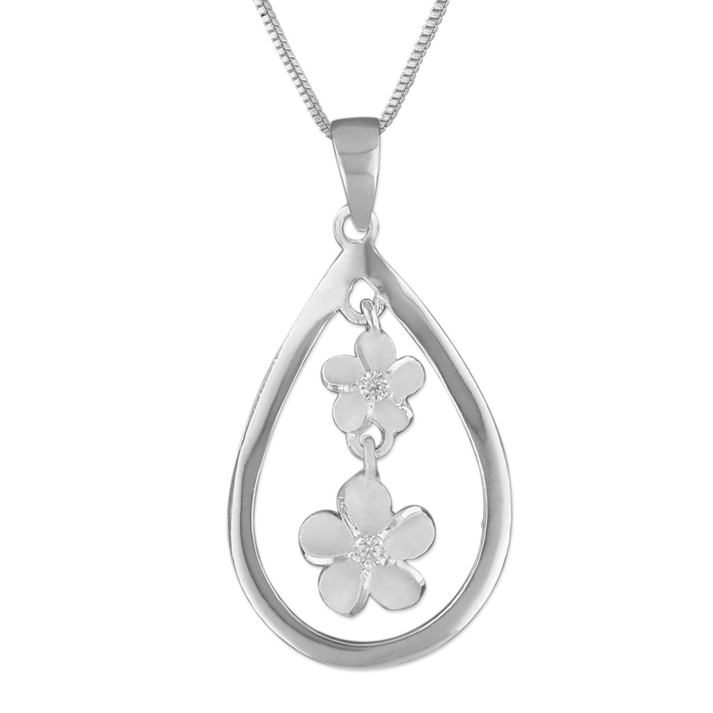 Sterling Silver Teardrop Plumeria Pendant Necklace, 16+2