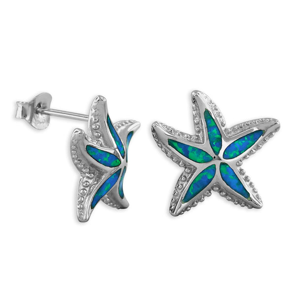 Sterling Silver Synthetic Blue Opal Starfish Stud Earrings