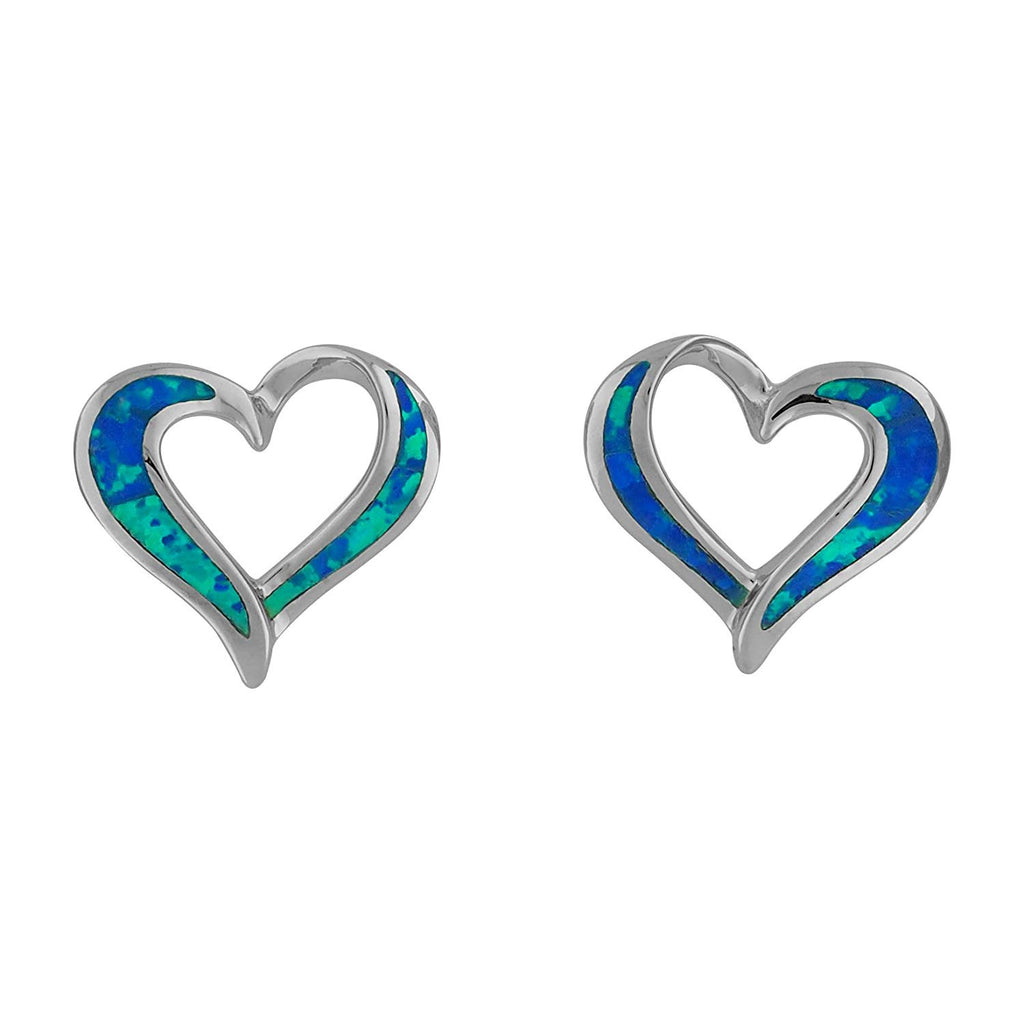 Sterling Silver Synthetic Blue Opal Open Heart Stud Earrings