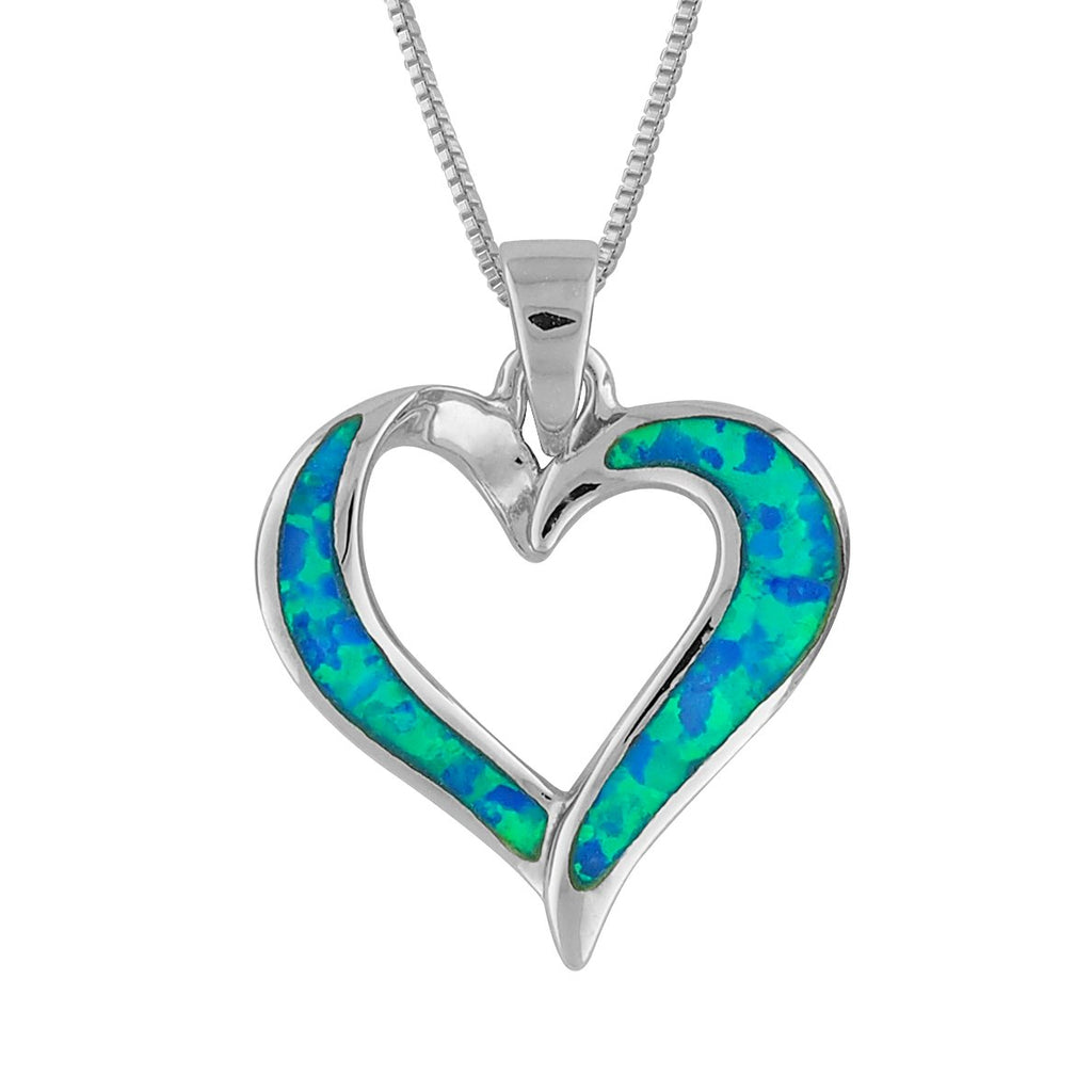 Sterling Silver Synthetic Blue Opal Open Heart Pendant Necklace, 18
