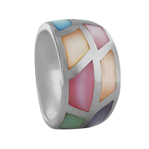 Sterling Silver Multi Color Mother of Pearl Tapered Band Ring