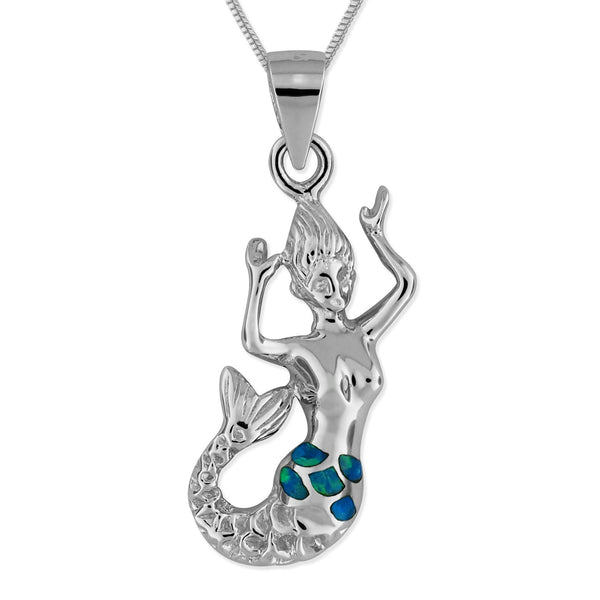 Sterling Silver Synthetic Blue Opal Mermaid Pendant Necklace, 18 Inch