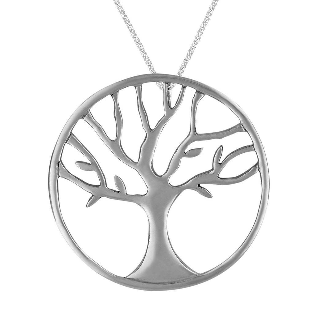 Sterling Silver Circle Tree of Life Pendant Necklace, 18